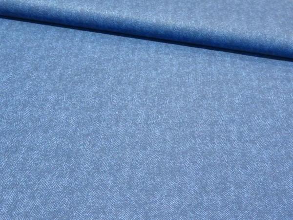 """Baumwollstoff """"Fischgrät"""" blau"""