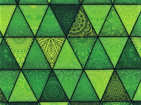 "Baumwolljersey ""Dreiecke Mandala"" grün"