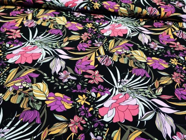 """Viskose """"Blumen"""" schwarz-pink-lila"""
