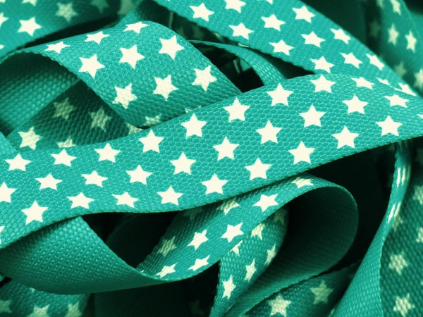 "Gurtband 30mm Sterne ""emerald"""
