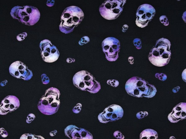 """Baumwolljersey """"Totenkopf-Skull"""" violett"""