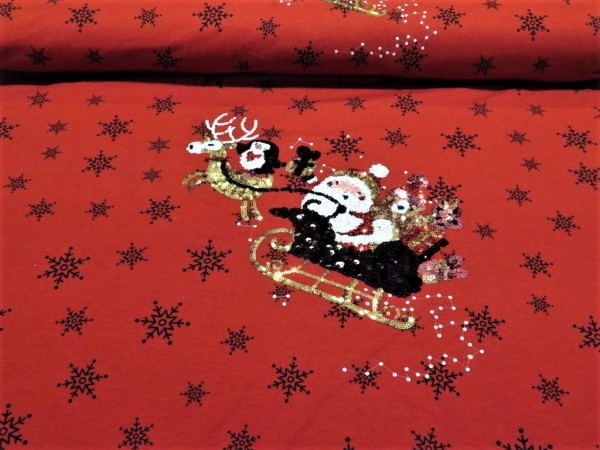 """Baumwolljersey Panel """"Santa"""" rot Wendepailetten"""