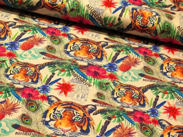 "Baumwolljersey ""Colourful Jungle"""