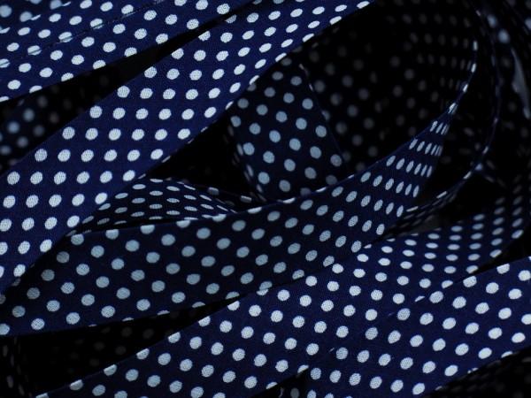 """Baumwoll-Schrägband Dots """"navy"""" 20mm"""