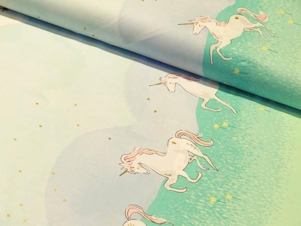 """Baumwolle """" Unicorn Parade """" Golddruck von Michael Miller"""