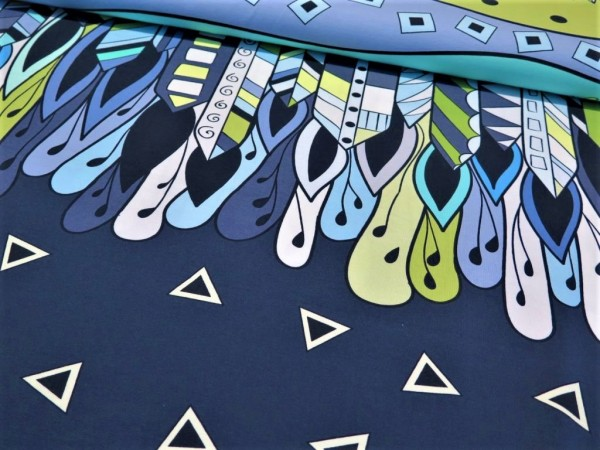 "Baumwolljersey Panel ""Abstrakt"" blau"