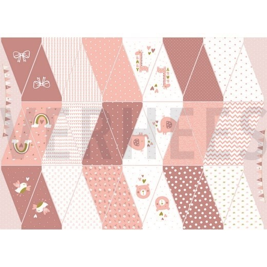 "Baumwollstoff ""Wimpel Panel"" rosa"