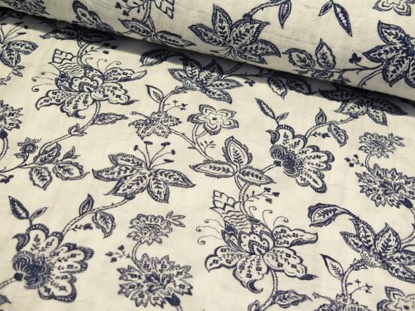 "Musselin Shannon Fabrics ""Vintage Flower"" blau"