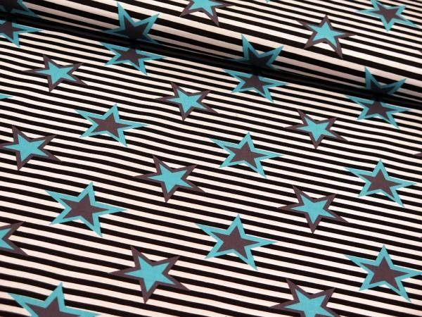 """Baumwollstoff """"Strips Stars"""" schwarz/türkis"""