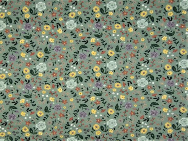 """Baumwolljersey """"Flower"""" dusty grün"""