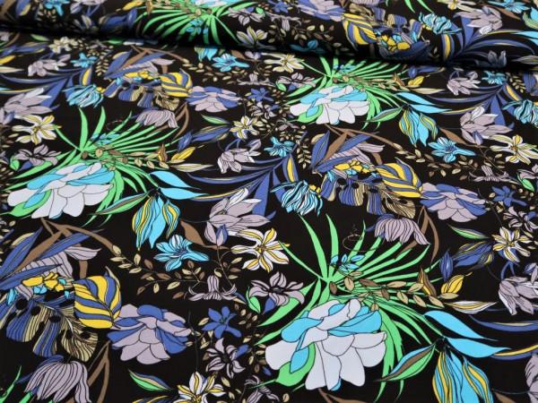 """Viskose """"Blumen"""" schwarz-türkis-blau"""