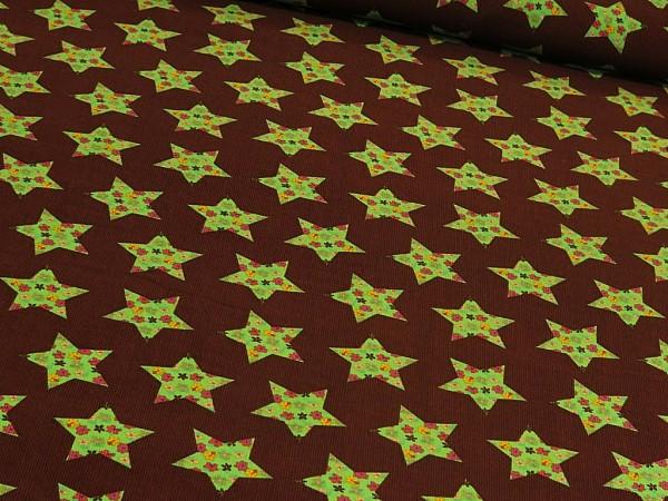"Feincord ""Stars"" braun/grün"