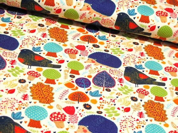 "Baumwolljersey Digital Print ""Autumn"" ecrü"