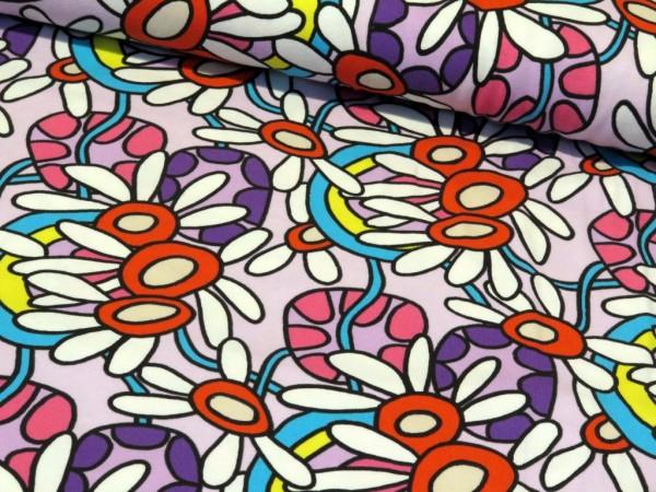 """Baumwolljersey """"Flower"""" lila"""