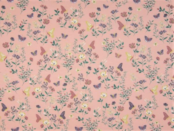 """Baumwolljersey """"Blumen und Schmetterlinge"""" rosa"""